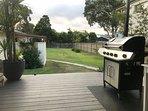 Backyard. Fully enclosed fence.