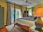 Two travelers will be able to rest easy in this king master suite.