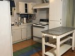 Kitchen and Movable Island Bench Table on wheels.