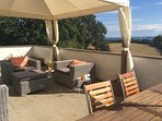 Sun terrace with fabulous countryside views, watch the sun go down over the lake