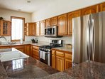 Fully equipped kitchen with brand new stainless appliances, all the comforts of home plus more!