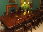 The traditional dining room seats up to 10 people