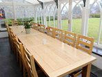 Enjoy almost al fresco dining in the large conservatory