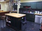The kitchen is a practical lodge kitchen