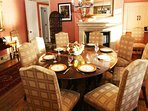 The charming lodge's elegant and sumptuous dining room