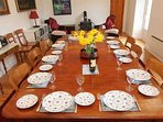 The dining table in the living space