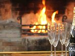 What better than a warm fire and cold champagne in a castle