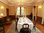 Formal dining in this grand room for up to 24
