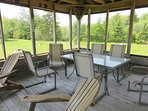 Screened in gazebo at Meadow Pines provides the perfect setting for outdoor meals