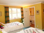 Twin room 'Rebecca' is located on the ground floor and has an en-suite bathroom
