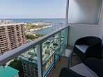 Large balcony with great bay and city views