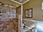Master bathroom with garden tub and walk-in shower