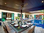 Large outside dining sala, private pool and large sundeck complete this 6 bedroom villa, sleeps 14