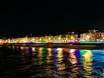 looking back at night from Hastings pier