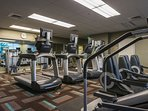 The gym is on the ground floor of our building, just steps away from our ground floor condominium.