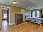 The upstairs master bedroom is extra spacious with pristine hardwood floors.