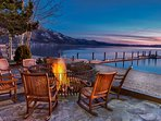 Our favorite spot to enjoy a cocktail before dining out is here at the Hyatt's lakeside fire pit.