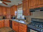 Modern appliances and ample counterspace make home-cooking a breeze.