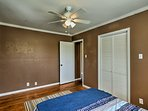 Air conditioning and ceiling fans keep the house the perfect temperature.