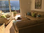 Living room opening onto the terrace with views of Kotor and the Bay