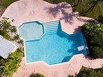 Large salt water pool with shallow children's play area.
