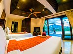 Bedroom nr 1 En Suite with 2 single beds and pool access