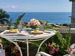 Dine outdoors..overlooking ocean.  special occasions (garden weddings, birthdays)