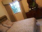 queen size bed, private bathroom, access code door etc