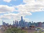 Enjoy sweeping views of the downtown New York City and Jersey City skyline from nearby park