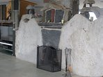 Beautiful double sided stone fireplace at Hella's Point