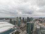 Rogers Centre (Skydom) is next door and can be seen from the balcony