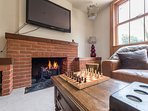 Chess by the cosy fireplace