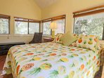 This bright & cheery guest bedroom has three walls of windows & sliding glass doors.