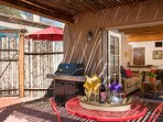 Outdoor living in Santa Fe is a must and it is easy at Casa Perla. For shade, sit under the pergola.