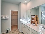 Rinse up before bed in the master en-suite bathroom.