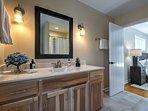 The bathroom features elegant decor.