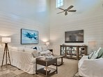 The home features surround sound in the living room, which can also be accessed on the outdoor porches.