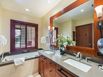 Master bathroom with deep soaking tub and separate shower