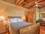 A charming sleigh bed is featured in this second bedroom.