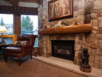 Beautiful Rock Fireplace in the Living Room