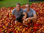 Your hosts Dan & Berndt sitting on their monthly cacao harvest.  Come join us!