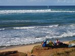 Uncrowded north shore beaches are the perfect place for a picnic and surfing