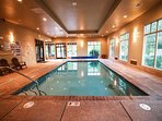 Indoor pool and hot tub allows for swimming fun all year round,