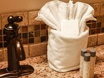 Lavish soaps and towels provided to guests