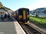 The train arriving at Looe station.