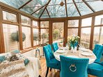 The large lovely conservatory with stunning views