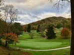 The beautiful 18 hole golf course is just down the hill from us. Yummy Pin High Grille 11am-8pm.