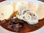 Famous pub grub - traditional beef gulash and bread dumplings