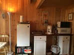 Mini Kitchen-small fridge, 2 burner hot plate, coffee maker, microwave, toaster oven, dishes, pans