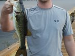 A guest with one of 4 bass caught within an hour of his arrival.